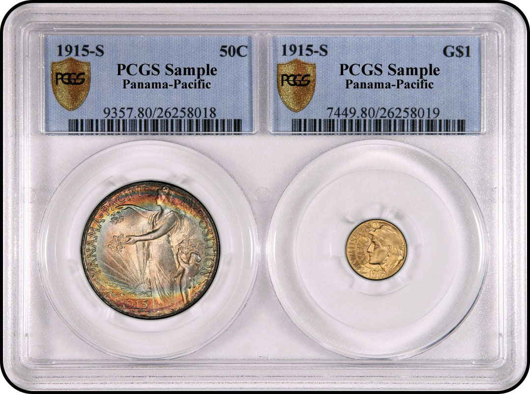 Two Coin Holder From Pcgs Sample Slab Values